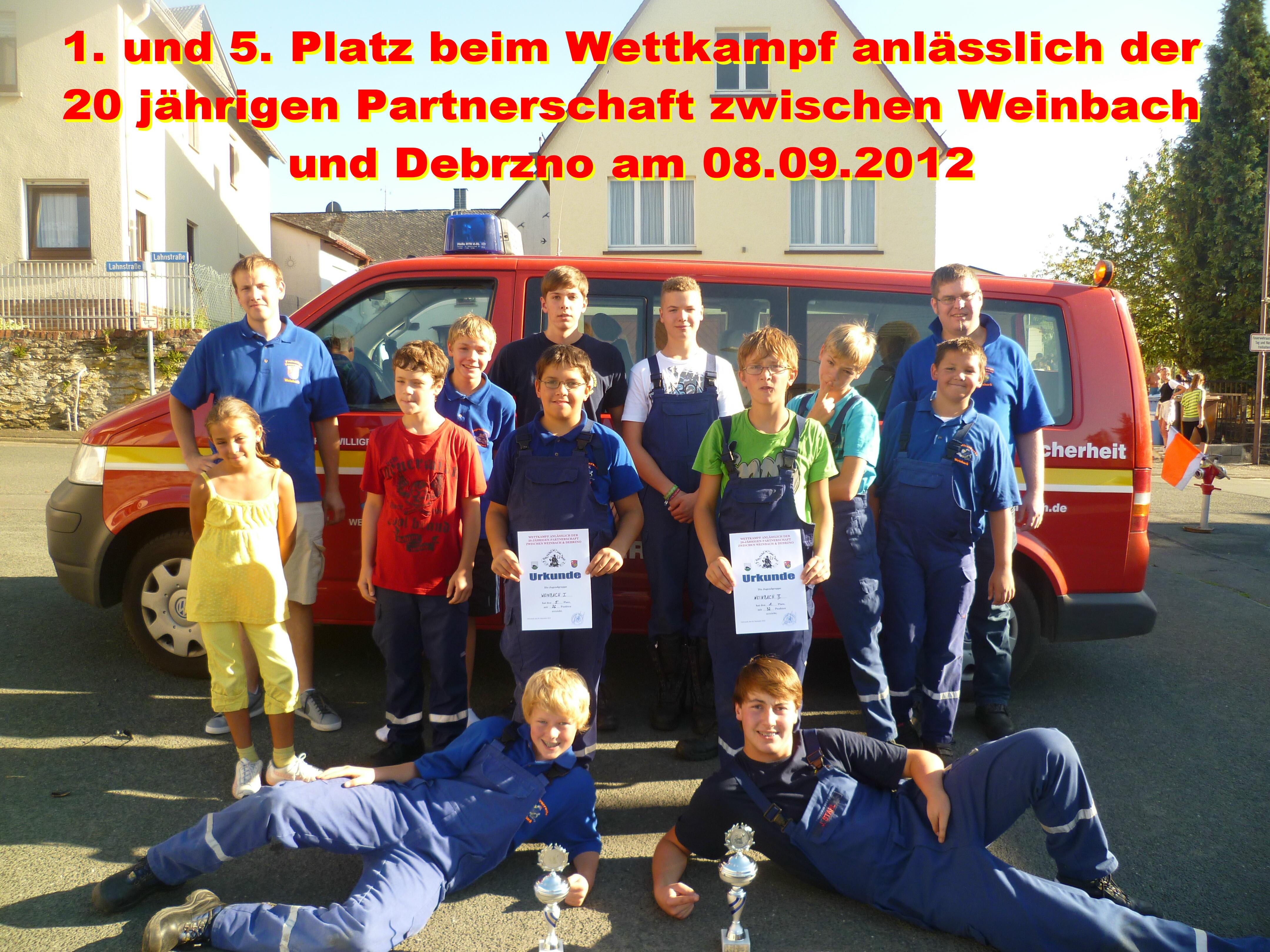Wettkampf anlässlich der 20-jährigen Partnerschaft  zwischen Weinbach & Debrzno am 08.09.2012