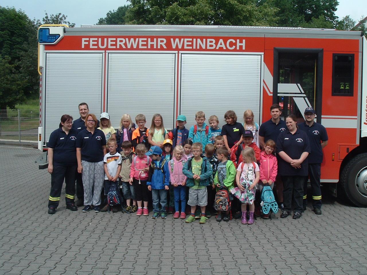 Vorschulkinder der Kindergärten zu Besuch bei der Feuerwehr